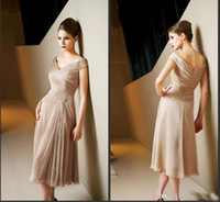 Wholesale evening dresses fast delivery - 2016 Rose Gold Capped Sleeves Off The Shoulder Chiffon Knee Length Mother Of The Bride Party Dresses Formal Evening Gowns Fast Delivery