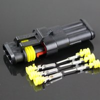 Wholesale Waterproof Male Female Connectors - AMP 1.5 STYLE 50 set kit 3P car harness connector waterproof connector HX plug socket male and female connector 3 core hole butt plug