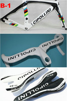 Wholesale Seatpost White Road - White Cipollini RB1000 Carbon Road Bike Frame Come With Fork+ Seatpost+ Clamp+ Headset + Cipollini White handlebar