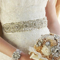 vestido de fiesta al por mayor-Alta calidad cristal caliente Rhinestone Crystal Nupcial Cinturón nuevo estilo envío gratis vestido de novia de la perla Sash accesorio Prom vestido de noche Tie Back