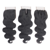 "Wholesale Medium Top Hair Piece - Virgin Peruvian Human Hair Top Lace Closures Free Part 4""X4"" Brazilian Body Wave Lace Closure Piece Natural Black 1B Soft Remy Hair"