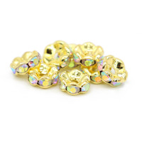 Wholesale Loose Gold Spacer Beads - 100Pcs Brass Crystal AB Rhinestones Wavy Edge Rondelle Spacer Beads Gold Plated Loose Bead 6 8 10 12mm for DIY Jewelry Making, IA02-06