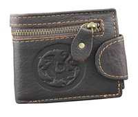 Wholesale Brown Leather Bikers Wallet - Mens Biker Vintage Zipper Snap Leather Card Holder Coin Wallet With Dragon Logo