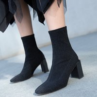 Sock Boots Mulheres Black Square Toe Slip On High Heels Chunky Heel Stretch Tecido Sexy Ankle Boots 2017 New Autumn Drop Frete Atacado