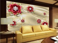 Wholesale Red Gold Wallpaper - Large Custom Wallpaper Gold Jewelry Diamond Red Rose Living Room Bedroom Sofa TV Background Wall Decorative Painting
