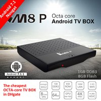 Wholesale Tv Video Player Box - Cheapest Android 7.1 Amlogic S912 Octa Core KM8P android box video H.265 4K 1GB+8GB 2.4G WiFi KM8 P IPTV Europe Smart TV Box Media Player