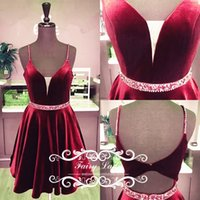 Wholesale Back Out Homecoming Dress - 2017 Cut-Out Waist Backless Short Homecoming Dresses Prom Sexy Mini Spaghetti Strap Beads Sequins Burgundy Velvet Party Graduation Gown