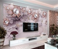 Wholesale Custom Korean Jewelry - Custom photo wallpaper 3D mural exquisite luxury jewelry flowers installed TV backdrop papel de parede wall paper