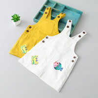 Wholesale Cute Jean Dresses - Baby Girls England Suspender Dress Cute Jean Dresses Spring Summer Lovely Children Small Fish and Crabs Dresses Free Shipping