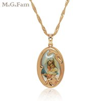 Wholesale Gp Cross Necklace - (153P) (Last price)18K GP Cross Pendant Chain Mary Christian with Free Chain 45cm Fashion 2017