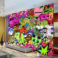 Wholesale free wallpaper for walls resale online - Graffiti Boys Urban Art Photo Wallpaper Custom Wall Mural Street culture Wallpaper wall art Bedroom Hallway Kids Room Decor