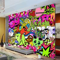papel de parede livre para paredes venda por atacado-Grafite Meninos Urban Art Foto Papel De Parede Personalizado Murais de Parede de Rua cultura papel de parede arte da parede Quarto Corredor Crianças Room Decor Frete grátis