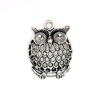 Wholesale Silver Tone Bird Charm - Wholesale- 10pcs Antique Silver Tone Owl Birds Charms Pendants for Jewelry Making DIY Handmade Craft 32x26mm D301