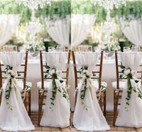 Wholesale fast chairs - Besat Quality White Chiffon Chair Sashes Fast Shipping Party Chair Gauze Back Sash Chair Decoration Covers Party Wedding Suppies