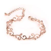 Wholesale Flower Girl Bangles - Elegant flower pattern women bracelet&bangles fashion rose gold plated 316L stainless steel girl bracelets bangles BR-149