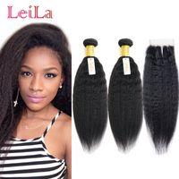 Wholesale Cheap Human Yaki Hair - Cheap Kinky Straight Virgin Hair 2 Bundles With Lace Closure Free Middle Three Part 3 Pieces lot Unprocessed Human Hair Coarse Yaki