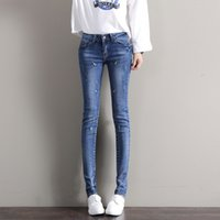 Wholesale Cute Blue Jeans For Women - Fashion Cute Dark Light Blue Elastic Jeans for Woman Scratch Embroidery Butt Lift Breathable Chinese Decoration Style Hot Sell
