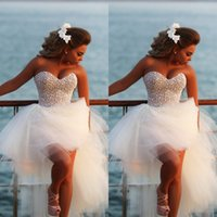 Wholesale High Low Cheap Elegant Dress - High Low Prom Dresses 2017 Elegant Sexy Sweetheart Pearls Formal Beach Party Gown Women Dress Cheap