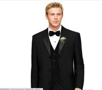 ingrosso sposo tweed maglia tuxedo-Tre bottoni Groom Tuxedo Groomsmen Matrimonio nero / Cena / Tute da sera Best Man Bridegroom (Jacket + Pants + Tie + Vest) B35014.