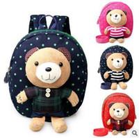 Wholesale Kindergarden Bags - New Arrival Kid's Plush Bear School Bags Backpack Little Boys Girls School Bags Cartoon Bear Toy Mini Backpack For Kindergarden Childre
