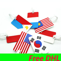 Wholesale USA France Flag aircraft travel luggage tag name card Suitcase Elastic Luggage outdoor accessorie Dustproof Luggage Tags