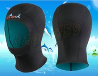 Wholesale Waterproof Swim Caps Hair - 1mm Neoprene adult kid Spearfishing Snorkeling Hood Cap Swim Protect Hair Mask Waterproof Scuba Diving Hat winter swimming cap Wetsuit
