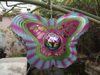Wholesale Wind Spinners Stainless Steel - Gazing Butterfly Stainless Steel Wind Spinner for Home Garden w  Gazing Ball Laser Cut Epoxy Coating w  Sparkles Powder Never Rust 12inch