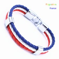 Wholesale Braided Fishing Strands - Wholesale- Wholesale World Cup National Flags Color Sports 3 Strands Rope Braided Leather Bracelet Men Wristband Bracelets Length 21cm