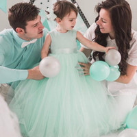 Wholesale Cheap Toddlers Tutu Dresses - Tutu Mint Green Toddler Pageant Dress Communion Dresses Glitz Girls Tulle Ball Gown Kids Formal Dress Cheap Flower Girls Dress For Weddings