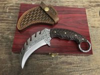 Wholesale Carved Knife Wood - high quality KARA Kirin karambit claw D2 blade ebony handle 59-60HRC carved holster camping hunting knife xmas gift knife for man 1pcs