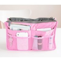 Wholesale Portable double zipper makeup bag multi function toiletries tidy package Double zipper bag in the bag ba