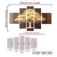 Wholesale Gold Gifts Christmas Pictures - Art Christmas Gift Hand Painted Oil Painting Gift Gold Tree 5 Panels Wood Inside Framed Hanging Wall Decoration