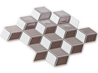 Wholesale Tanning Tablets - 3D Brown glossy porcelain mosaic tiles,Diamond wall ceramic tiles design,High quality porcelain mosaic for bathroom Kitchen flooring,EO48111