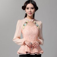 Wholesale Puff Sleeve Lace Top - New 2017 Spring women lace tops Fashion long sleeve casual lace shirt Temperament brand Blouses shirt Embroidered blouses