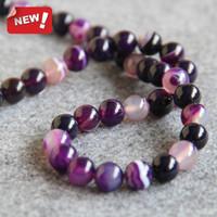 Wholesale 15inch Necklace - New Necklace&Bracelet Accessories 10mm multicolor Natural Purple Agate beads Round DIY Jasper Loose Jade carnelian 15inch