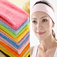 Vente en gros-1 Piece Gym Style Sport Yoga Yoga Bandes Candy Couleur Yoga Cheveux Plomb Toiles Toile Absorber Sweat Wide Headband