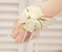 brautjungfern handgelenk korsagen großhandel-Hochzeitsbankett Party Supplies Braut Brautjungfer Blume Handgelenk Corsage Handgelenk Blume hochwertige Schaum Kopfschmuck Blume