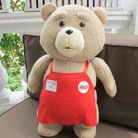 Wholesale Ted Movie Apron - Big Size Movie Teddy Bear Ted 2 Bear Plush Toys In Apron 48CM Soft Stuffed Animals Plush Dolls For Christmas Birthday Gift