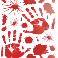 décorations de fêtes de zombies achat en gros de-Bloody Footprints Floor Clings Halloween Vampire Zombie Décorations Décorations Stickers Fournitures Halloween Party Cosplay Parties