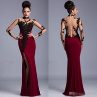Wholesale Janique Prom - 2016 Vintage Burgudy Velvet Evening Gowns Janique High Neck Illusion Back Sexy Front Split Applique Long Sleeves Formal Prom Occasion Gowns