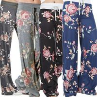 Wholesale Drawstring Loose Leggings - Women Floral Prints Drawstring Wide Leg Pants Leggings 2017 Pants Leggings four colors Brand New High Quality