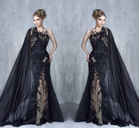 Wholesale Vintage Cape Dress - 2018 Tony Chaaya Mermaid Evening Dresses Sexy Black Lace Appliques Prom Gowns With Cape ribbon Illusion Applique Celebrity Formal Wear