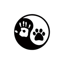 Wholesale Cartoon Hand Mirror - 2017 Hot Sale Ying And Yang Dog Or Cat Paw Hand Print Decal Sticker Logo Car Stying JDM