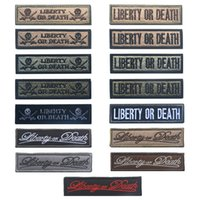 Wholesale 3d Fabric Pieces - 50 piece LIBERTY OR DEATH 3D Magic Tape Embroidered Patches Clothing Iron On Appliques Fabric Badge Stickers For Clothes free ship