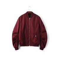 Wholesale Force Baseball - 2016 Spring Autumn Mens Solid Flight Wine Red Bomber Jacket Men's Rib Sleeve Zipper Short Air Force Baseball Coats Clothing