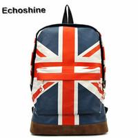 Wholesale Canvas Shoulder Bag Men Uk - 2016 popular UK British Flag Union Jack Style Backpack Shoulder School Bag BackPack Canvas travel bag wholesale mochila feminine