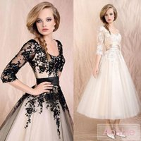 Wholesale Custom Made Elbow Sleeve - Cute Black Ball Gown Elbow 3 4 Long Sleeves Lace Tea-Length Tulle Short Wedding Dresses Cocktail Dress