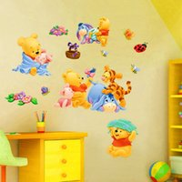 Wholesale Winnie Pooh Sticker Wallpaper - Wall Stickers Winnie the Pooh Vigny Decorative Art Decal Removeable Wallpaper Mural Sticker for Kids Room Bedroom Room Adhesive