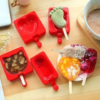 Wholesale Ice Cream Hearts - Cartoon DIY Heart Cat Foot Smile Shape Silicone Ice Cream Mold Popsicle Molds Ice Tray Cube Tools Frozen Popsicle Maker Holder wa4109