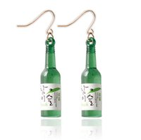 Wholesale Sake Glasses - New Unique Design Korea Sake Glass Bottle Shaped Earrings for Girls Popular Products 2 colors free shipping